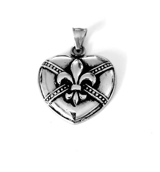 Heart with Fleur de Lis Necklace
