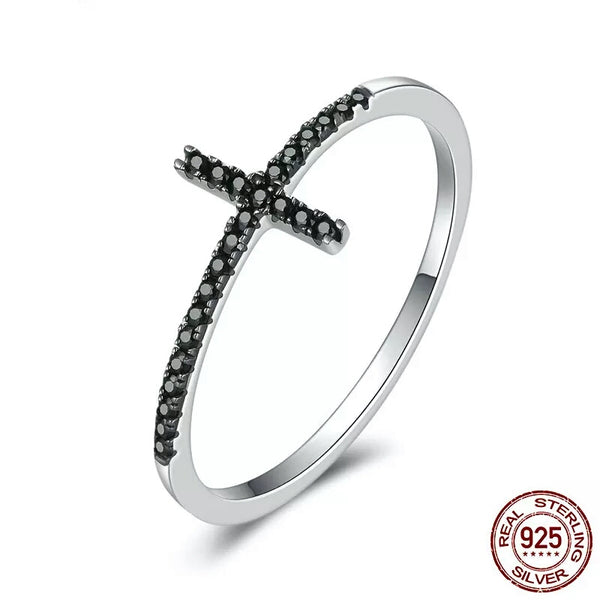 Cross with Black CZ Ring