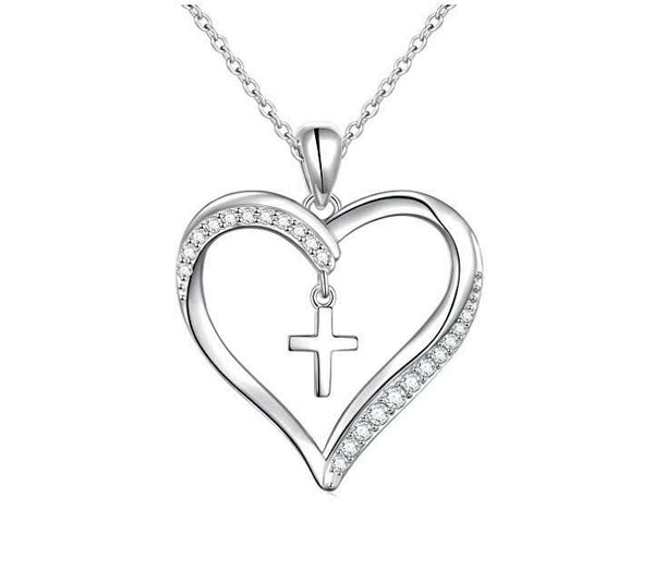 Heart with dangling Cross Necklace