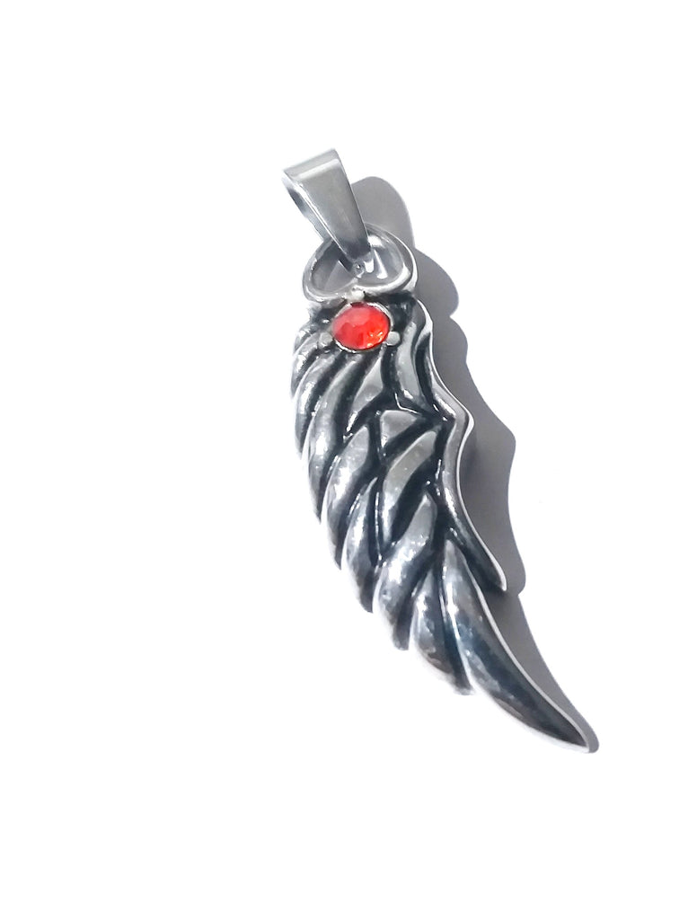 Small Angel Wing with Red CZ Necklace
