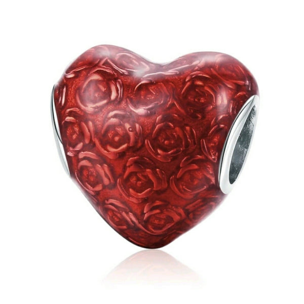 Red Roses Heart Charm