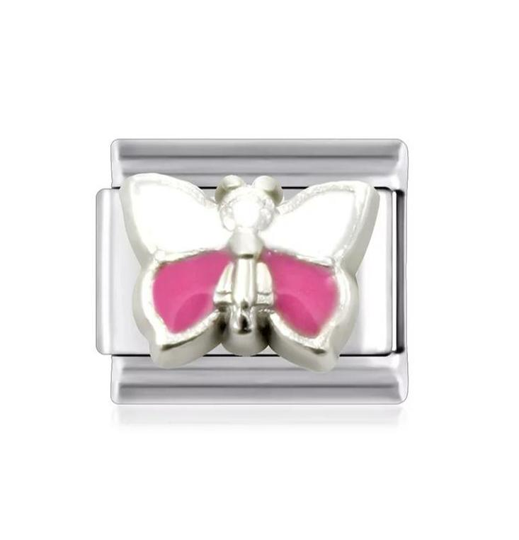 Pink & White Butterfly Link