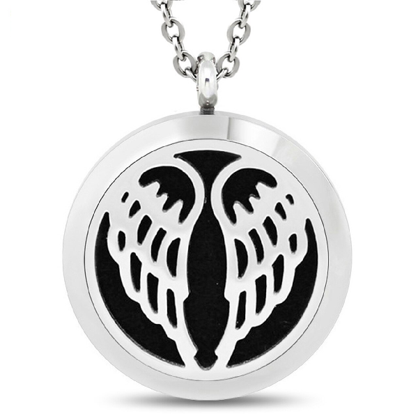 30mm Angel Wings  Essential Oil Diffuser Locket Necklace