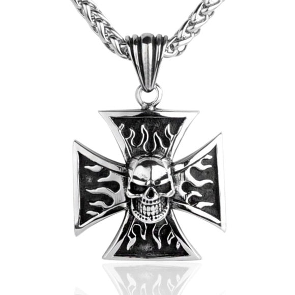 Iron Cross with Skull Necklace
