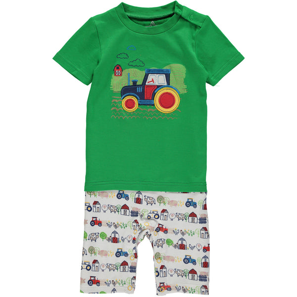 baby romper green tee tractor embroidered farm print shorts barn cows trees chickens pigs