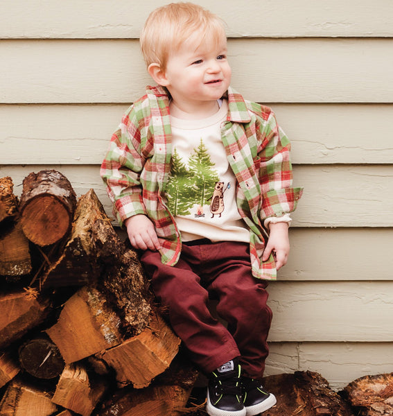 Baby and Boy Campfire Bear Long Sleeve Tee Shirt,Shirts,Rockin' Baby-The Little Clothing Company