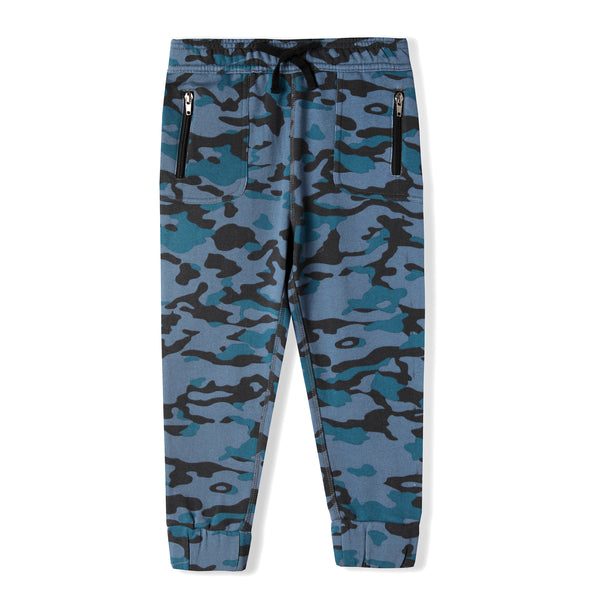 Boy's Blue Camouflage Organic Cotton Jogger Pant,Bottoms,Art & Eden-The Little Clothing Company