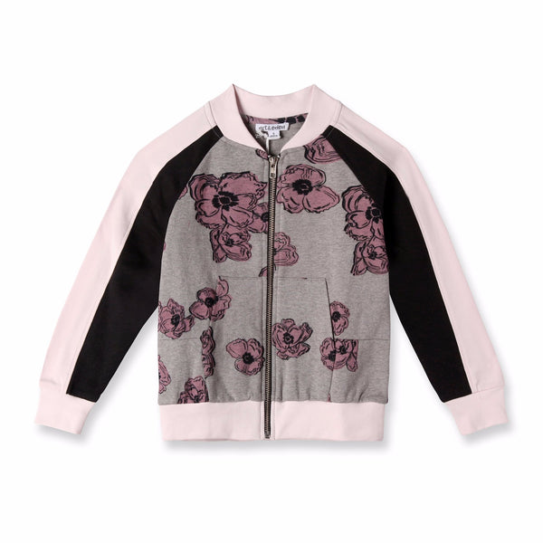 Poppy Pink Sleeve Bomber Jacket