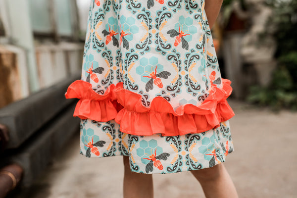 Bees Knees Girl Ruffle Dress,Dresses,Looking Glass-The Little Clothing Company