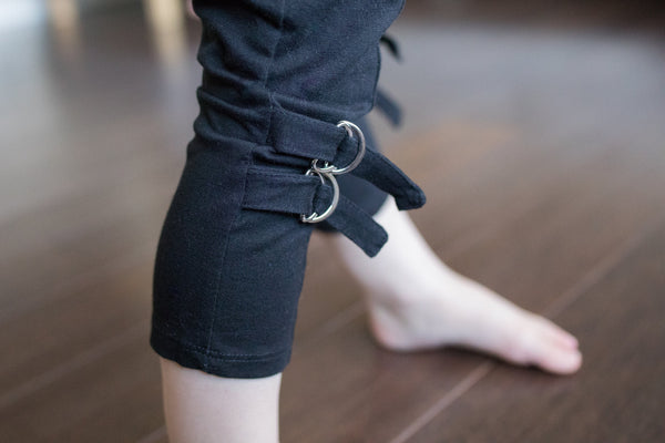 Buckles Girl Organic Cotton Black Legging,Bottoms,Art & Eden-The Little Clothing Company