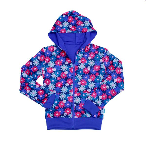 Admire Girl Reversible Blue and Floral Zip Up Hoodie