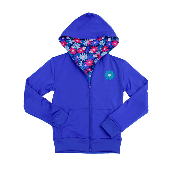 Admire Girl Reversible Blue and Floral Zip Up Hoodie,Outerwear,Chooze-The Little Clothing Company