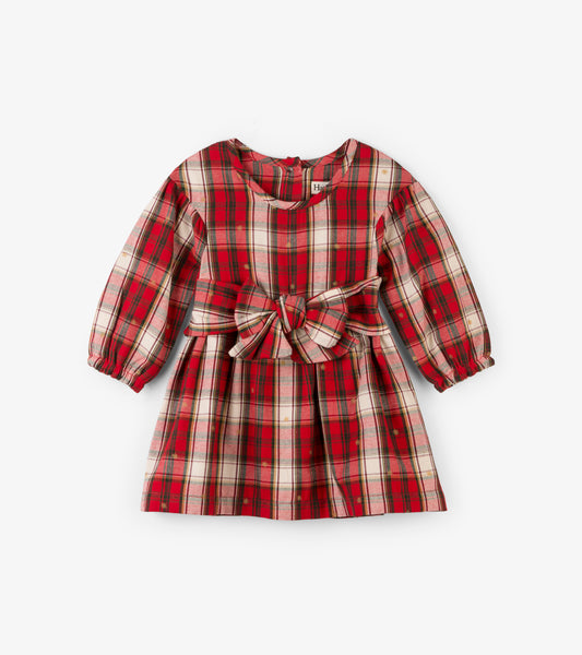 Holiday Baby Red Plaid Bow Party Dress