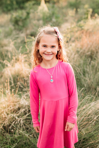 girl pink raspberry long sleeve twirl dress bamboo