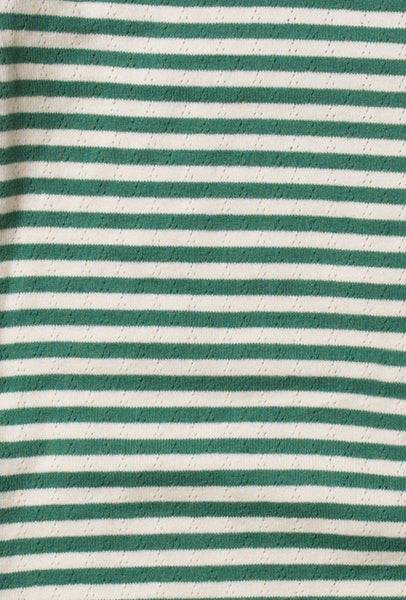 Baby Pointelle Green Stripe Organic Cotton Footed Sleeper,Sleepers,Little Green Radicals-The Little Clothing Company