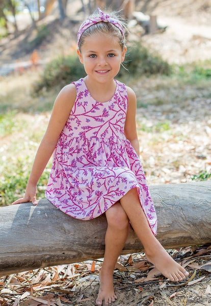 Bamboo Baby & Girl Pink Blossom Tank Twirl Dress