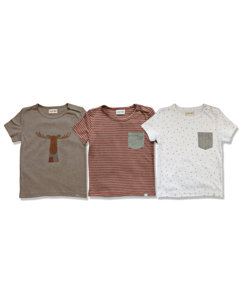 Baby and Boy's Brown Stripe Short Sleeve Pocket Tee Shirt,Shirts,Me and Henry-The Little Clothing Company