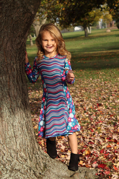 Admire Girl Blue Flower Long Sleeve Dress - 4T,Dresses,Chooze-The Little Clothing Company