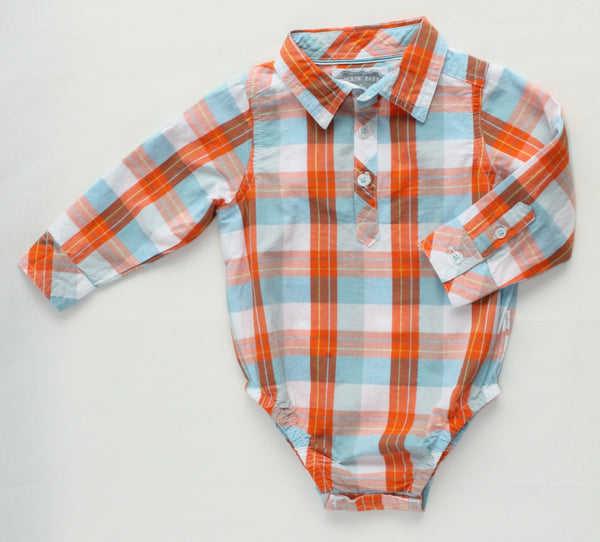 Oliver Baby Orange and Blue Collared Bodysuit,Shirts,Rockin' Baby-The Little Clothing Company