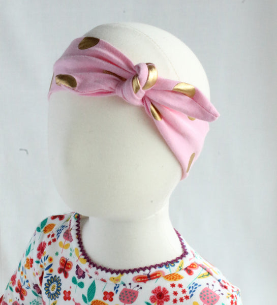 Metallic Polka Dot Baby & Girl Knotted Headband,Headband,Headbands of Hope-The Little Clothing Company