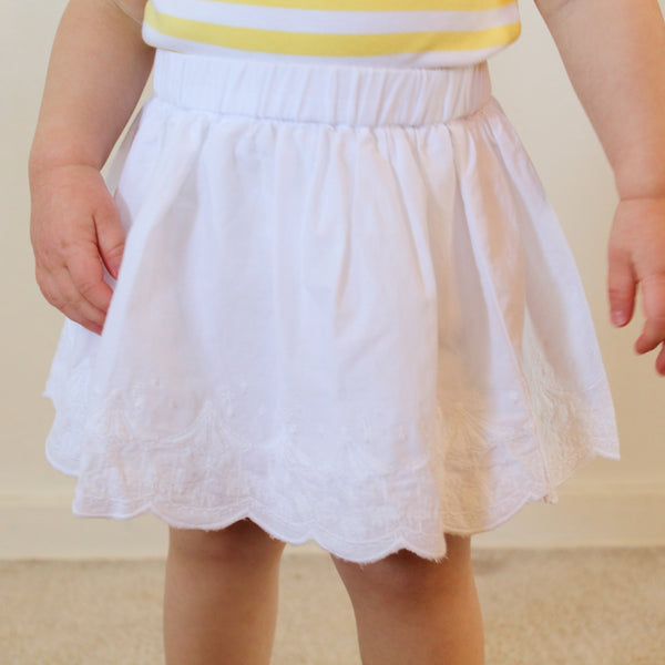 Baby Girl White Embroidered Carousel Skirt