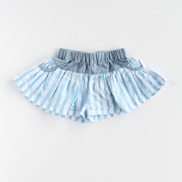Summer Days Baby Girl Blue Stripe Shorts,Bottoms,Rockin' Baby-The Little Clothing Company