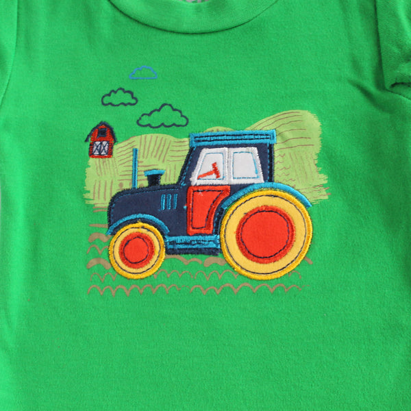 baby romper green tee tractor embroidered