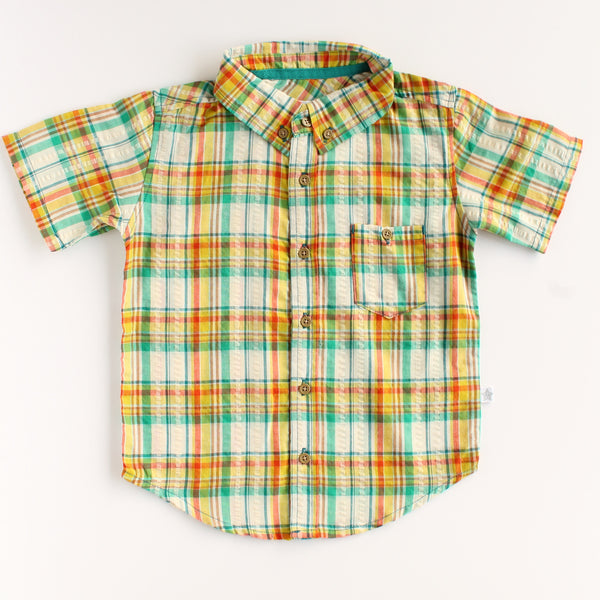 Sharp Dressed Kid Green Short Sleeve Button Up