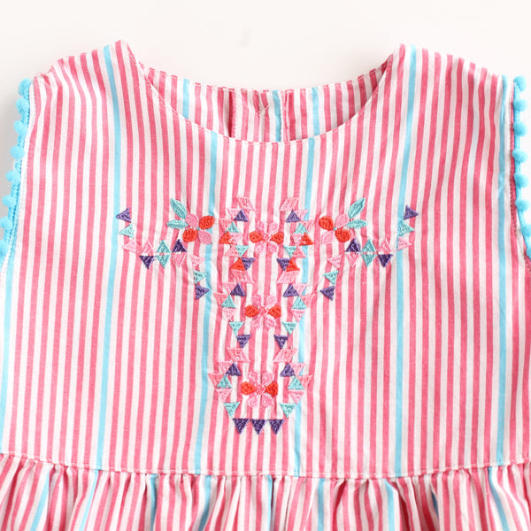 Aztec Girl Pompom Striped Sleeveless Shirt,Shirts,Rockin' Baby-The Little Clothing Company