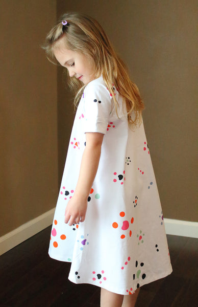 Starfish Polka Dot Girls Organic Cotton Swing Dress
