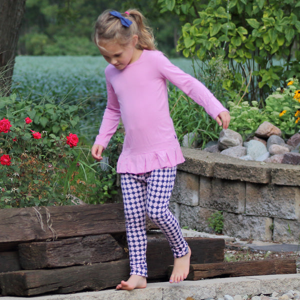 Bamboo Girl Pink Peplum Long Sleeve Top - 6,Shirts,Sweet Bamboo-The Little Clothing Company