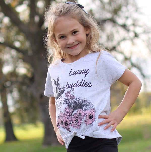 Bunny Buddies Girl Organic Cotton Tee - 5T,Shirts,Art & Eden-The Little Clothing Company