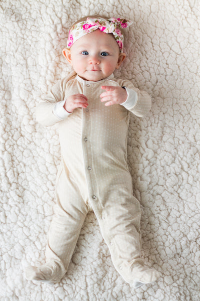 Bamboo Baby Cream Tiny Stars Footed Sleeper,Sleepers,Sweet Bamboo-The Little Clothing Company