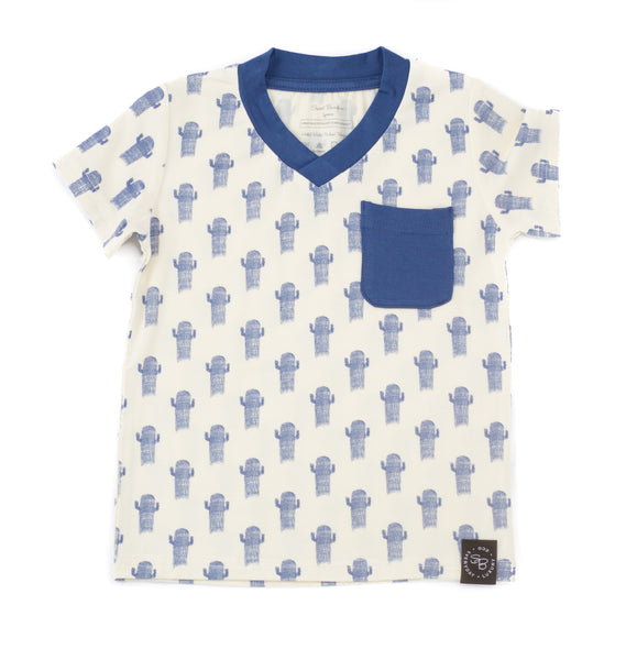 Bamboo Baby & Boy Blue Cactus Pocket Tee