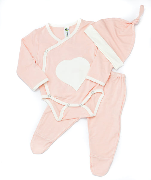 Bamboo Baby Welcome Home 3 Piece Set - Pink Heart