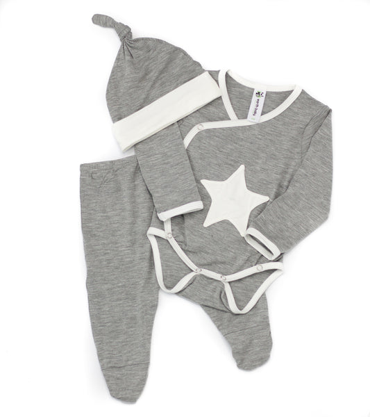 Bamboo Baby Welcome Home 3 Piece Set - Gray Star,Romper,Earth Baby-The Little Clothing Company