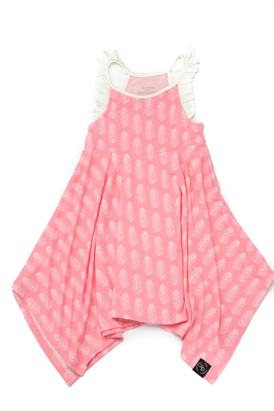 Bamboo Girl Pink Feather Ruffle Tank Dress