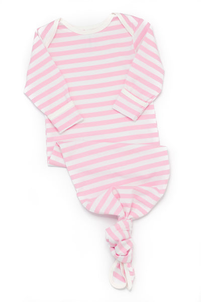 Bamboo Baby Stripe Pink & White Knotted Gown - 0/3 months,Romper,Earth Baby-The Little Clothing Company