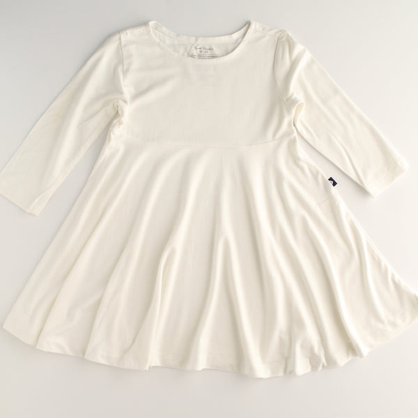 Bamboo Girl Long Sleeve Twirl Dress - Ivory - 6,Dresses,Sweet Bamboo-The Little Clothing Company