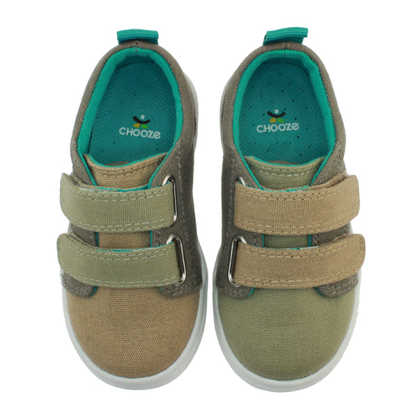 tan green brown shoes velco straps mismatch colors