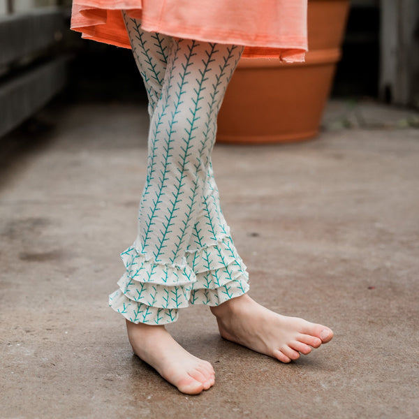 Mint Sticks Girl Ruffle Legging Pant,Bottoms,Looking Glass-The Little Clothing Company