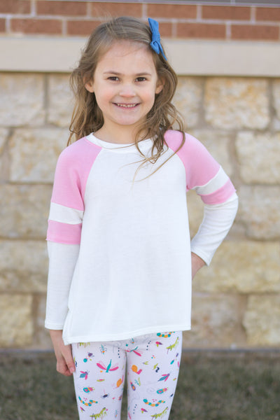 Stripe Sleeve White Girls Baseball Tee - Pink or Blue,Shirts,Freeloader-The Little Clothing Company