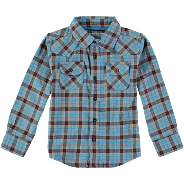 Adam Blue and Brown Boy's Plaid Flannel Shirt,Shirts,Rockin' Baby-The Little Clothing Company