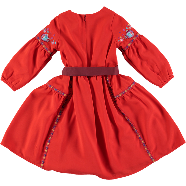 Liza Rust Embroidered Peasant Dress,Dresses,Rockin' Baby-The Little Clothing Company