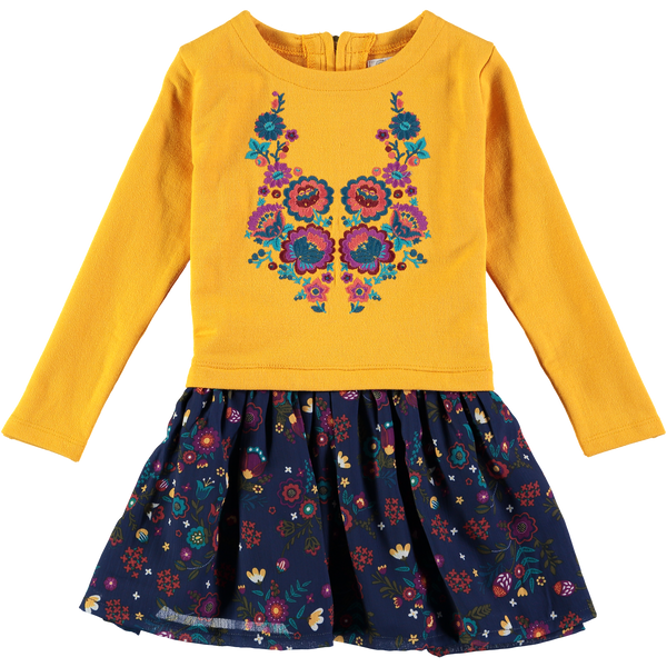 Mustard Embroidered Long Sleeve Dress,Dresses,Rockin' Baby-The Little Clothing Company