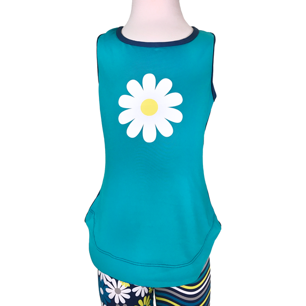 Daisy Girl Blue Racer Back Tank,Shirts,Chooze-The Little Clothing Company