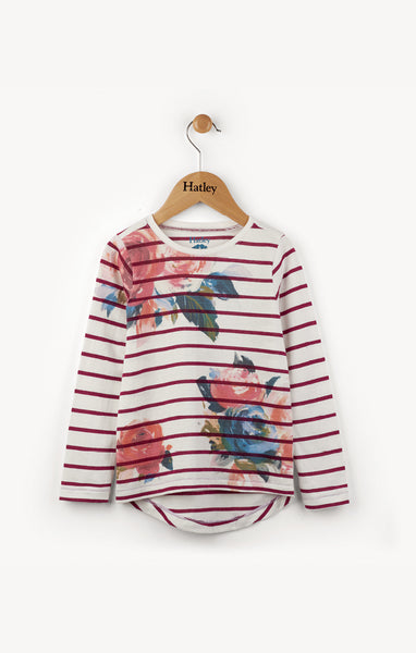 Winter Floral Cranberry Stripe Long Sleeve Tee