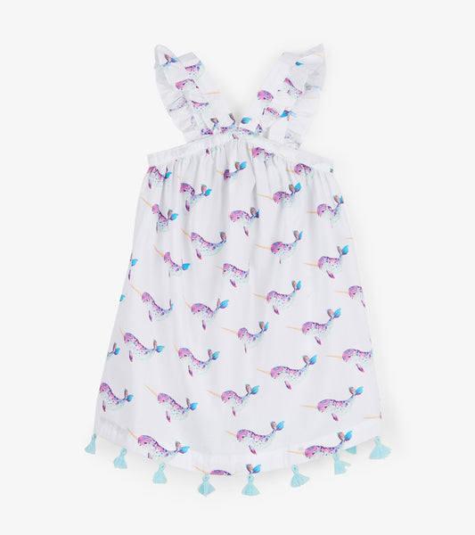 Baby and Girl's Cross Back Narwhal Sea Dress,Dresses,Hatley-The Little Clothing Company