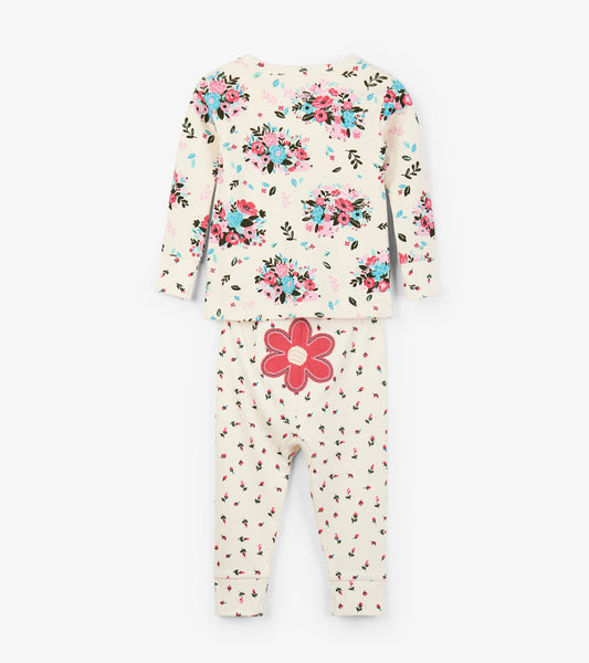Baby Girl Floral Hedgehog Two Piece Organic Cotton Pajama,Pajamas,Hatley-The Little Clothing Company
