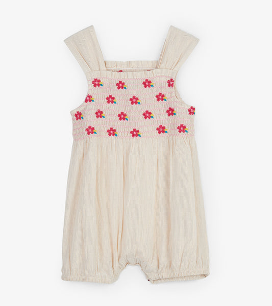 Baby Girl Tropical Flowers Gold Bubble Romper,Romper,Hatley-The Little Clothing Company